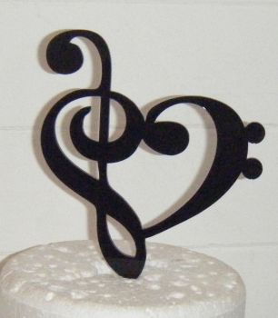 Heart Music Note Silhouette Cake Topper