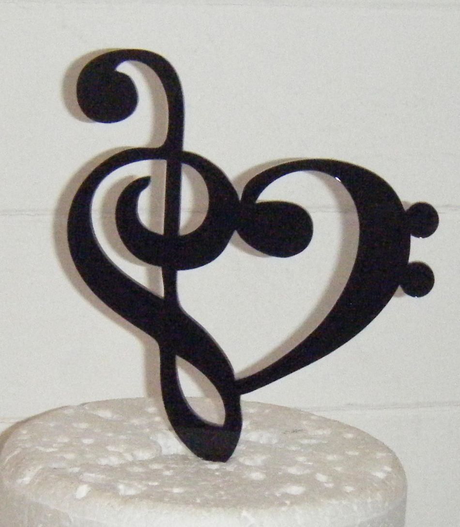 Heart Music Note Silhouette Cake Topper