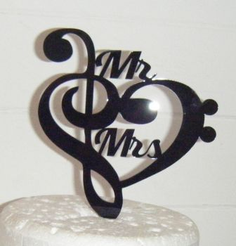 Heart Music Note Silhouette Mr Mrs Cake Topper    (or same sex)