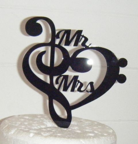Heart Music Note Silhouette Mr Mrs Cake Topper