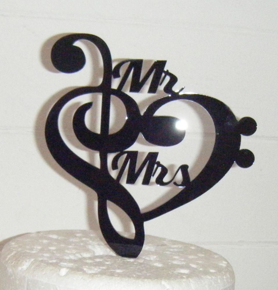 Heart Music Note Silhouette Mr Mrs Cake Topper