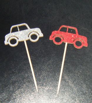 Glitter or Plain Card Motor CAR cupcake picks