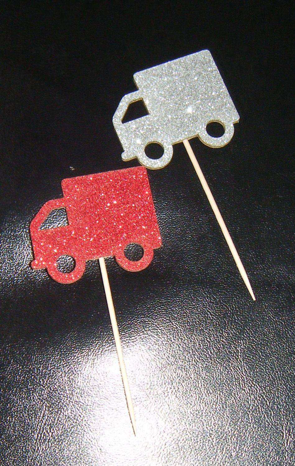 Glitter or Plain Card Truck LORRY cupcake picks