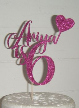 Name is Number Custom Cake Topper with Heart Flag
