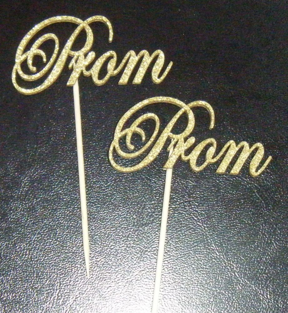 Prom Card Glitter or Plain  Cupcake Cake Picks
