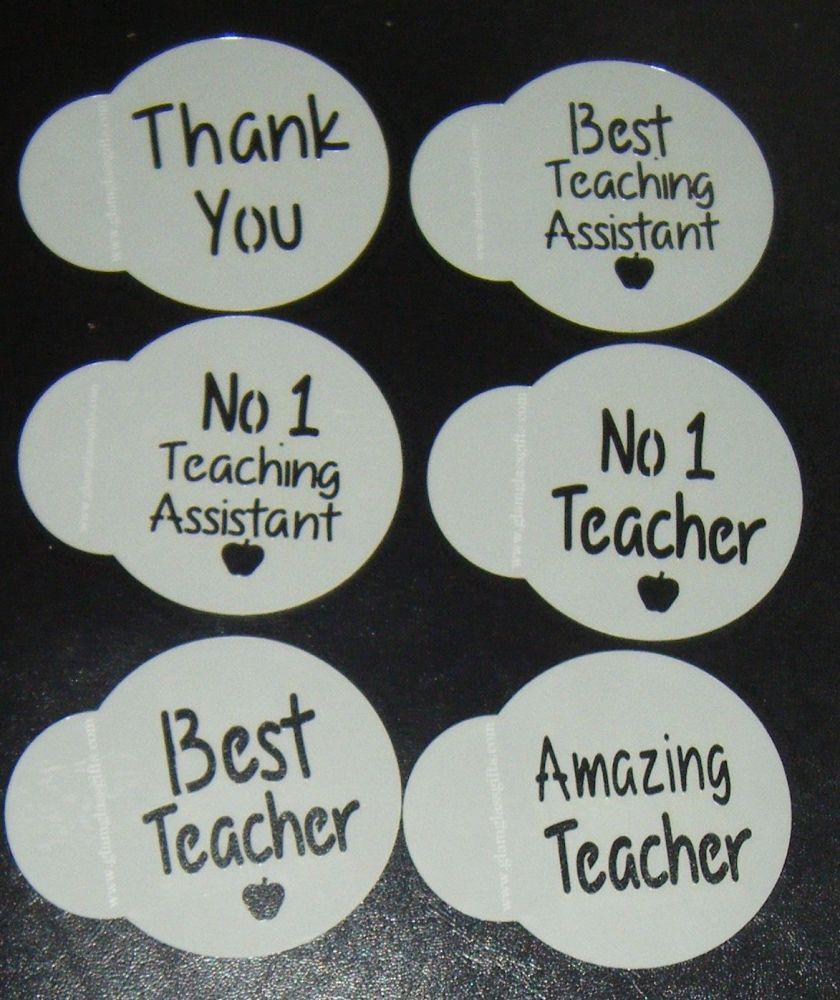 6 x Teacher designs cupcake Stencils