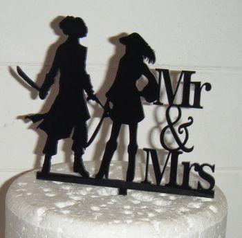 Pirate Wedding couple Silhouette Cake Topper