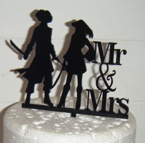 Pirate Wedding couple Silhouette Cake Topper