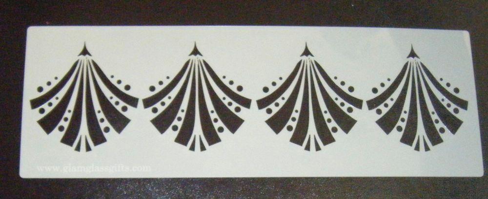 Art Deco Fan Design 2 Cake Decorating Stencil Airbrush Mylar Polyester Film