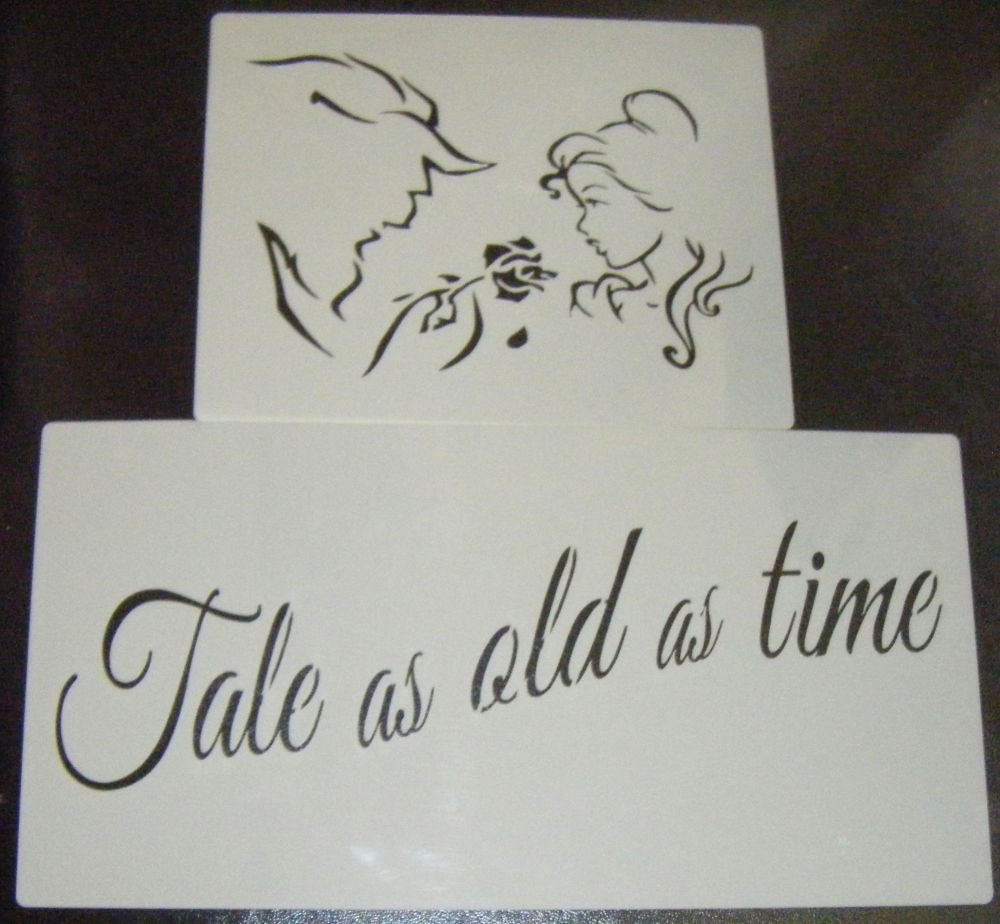 Beauty and The Beast Large Set Silhouette Craft or Cake Stencil