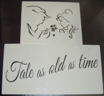 Beauty and the beast LARGE SET silhouette airbrush craft cake Stencil