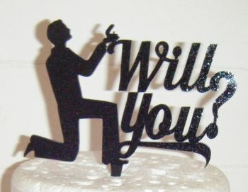 Proposal Will You? Silhouette Cake Topper