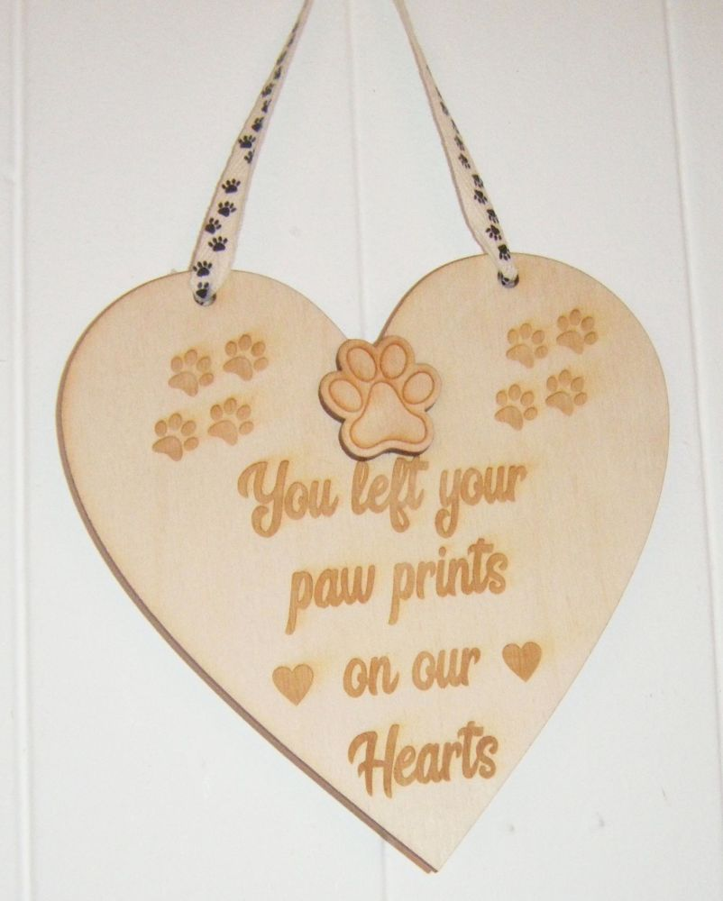 You left paw prints wooden plaque
