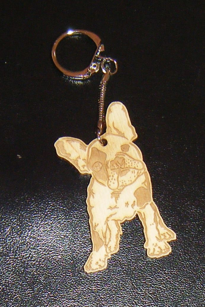 Dog Pet Keyring Wooden Engraved - Any Breed