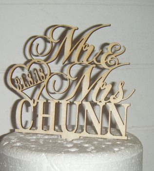 Mr + Mrs Name with date in heart Cake Topper  2