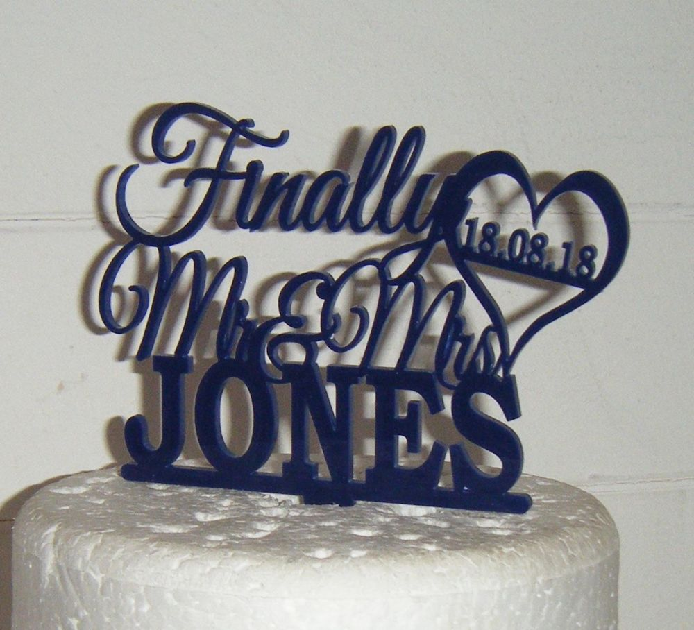 Finally Mr + Mrs custom order name Cake Topper