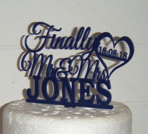 Finally Mr + Mrs custom order name Cake Topper