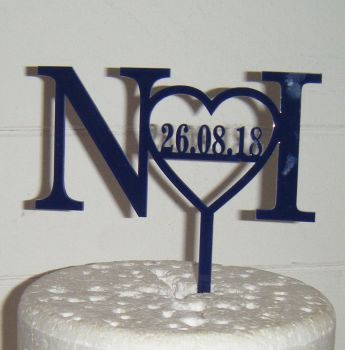 Bold Initials Monogram Heart with Date Cake Topper