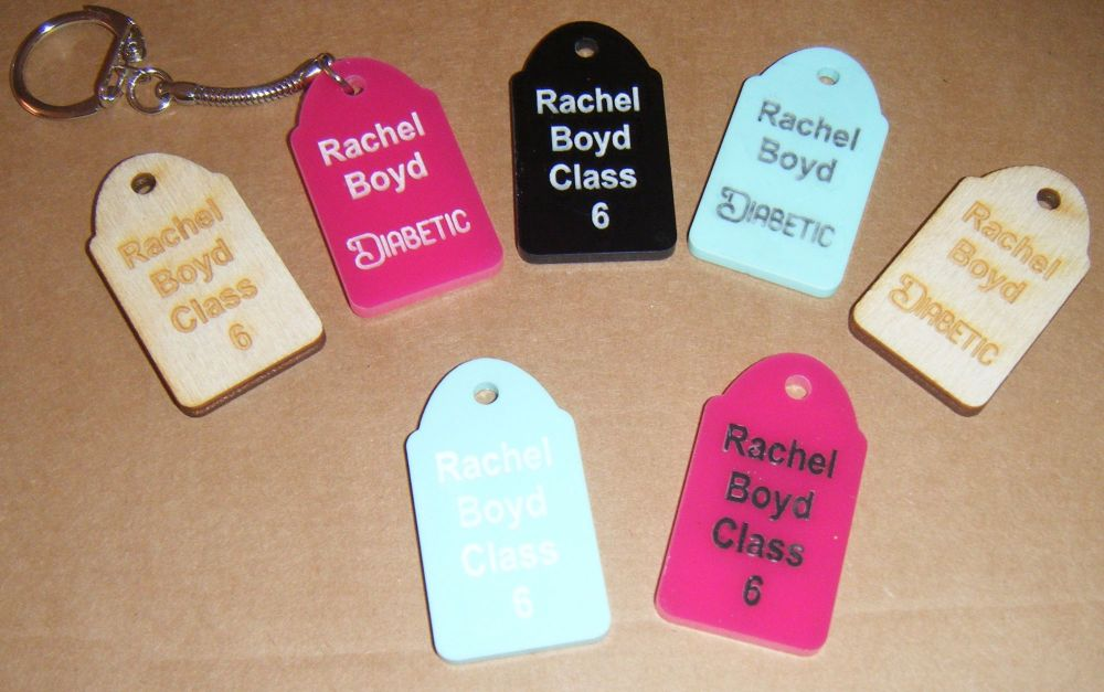 Back to School/Medical Alert Keyring Tag - Any Wording