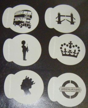 6 x London Theme Designs Cupcake Stencils