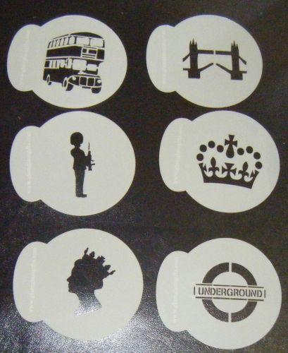 6 x London designs cupcake Stencils