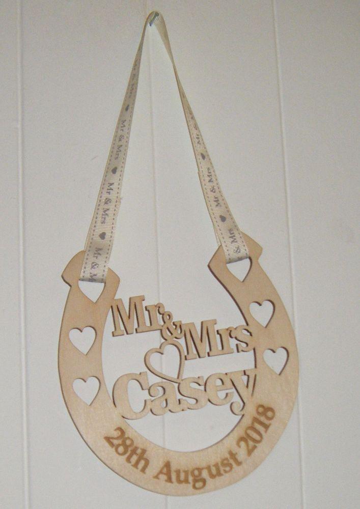 Wooden Horseshoe Good Luck Wedding Gift