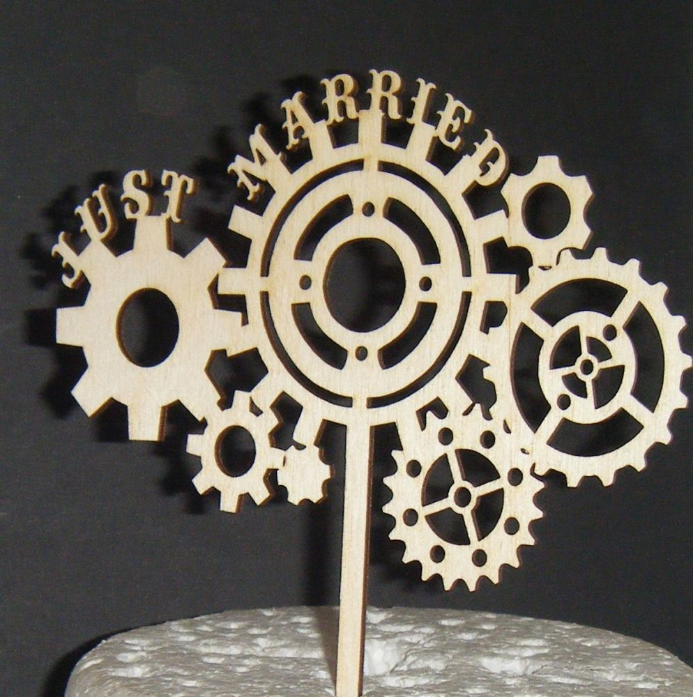Just Married steampunk cogs Wedding Cake Topper