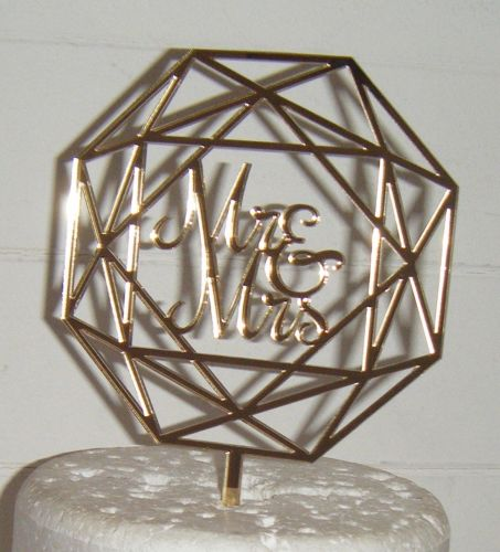 Geometric Mr & Mrs Cake Topper  2
