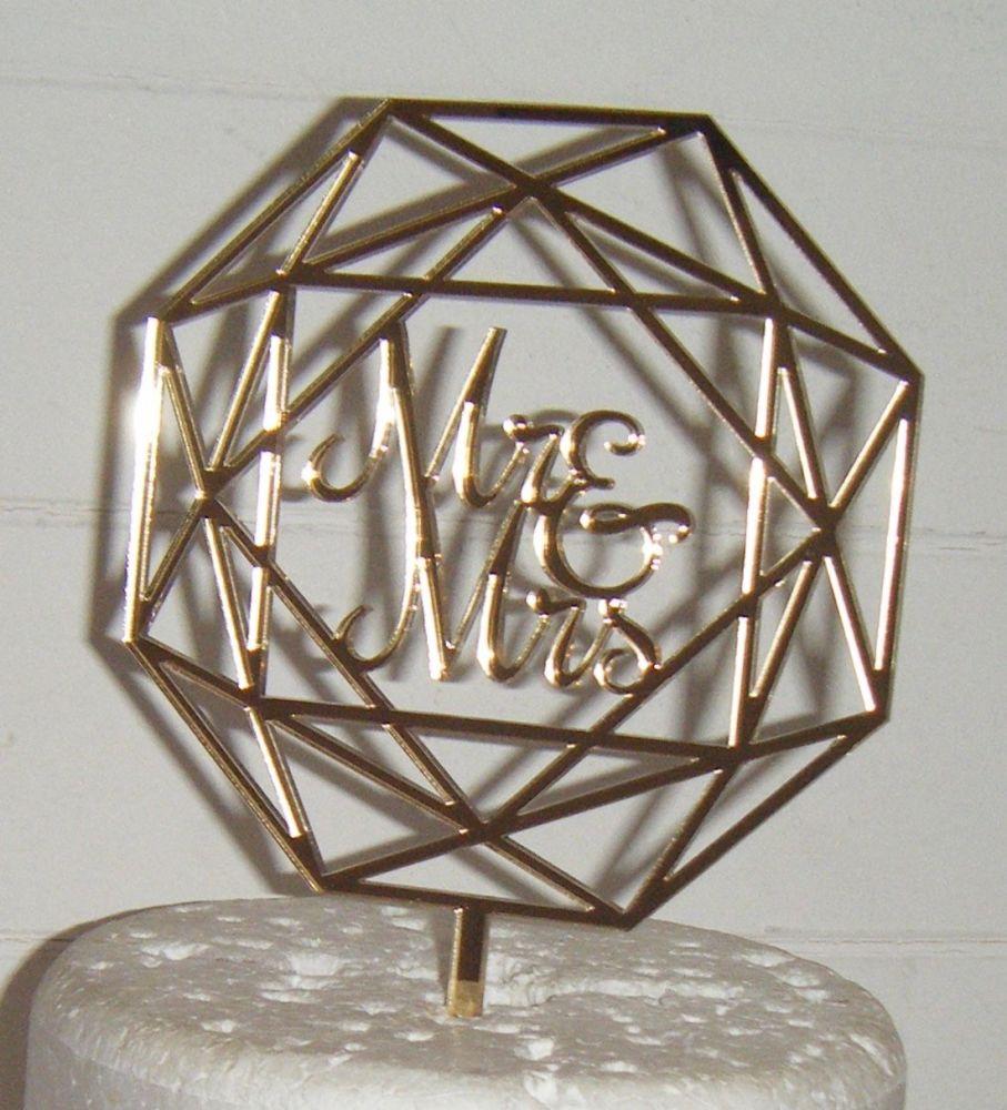 Geometric Mr & Mrs Cake Topper  2