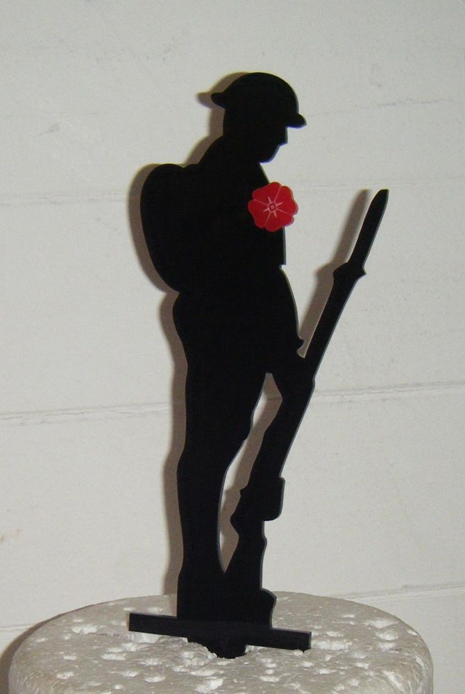Soldier Rememberance Silhouette Cake Topper  with poppy 2