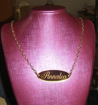 Bespoke Custom Gold or Silver Mirror engraved Name Necklace