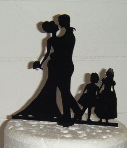 Wedding couple family Silhouette Cake Topper 4