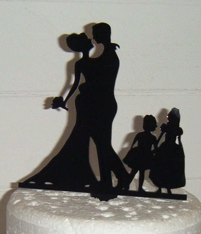 Wedding couple family Silhouette Cake Topper 4