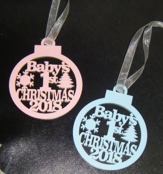 Baby's 1st Christmas 2019 Tree Bauble Decoration