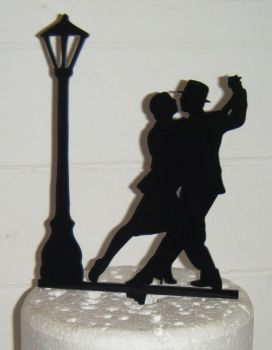 Dance Couple with Lamp Post Silhouette Cake Topper