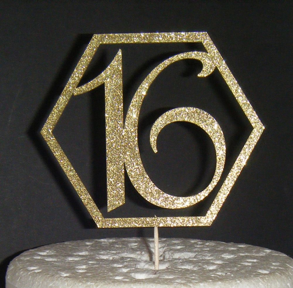 16 Cake Topper Geometric Design OR ANY NUMBER