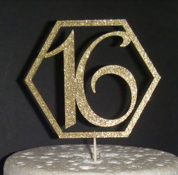 16, 18, 21, etc Cake Topper Geometric Design OR ANY NUMBER