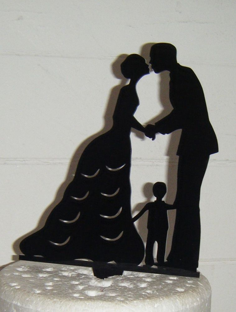 Wedding couple family Silhouette Cake Topper 6