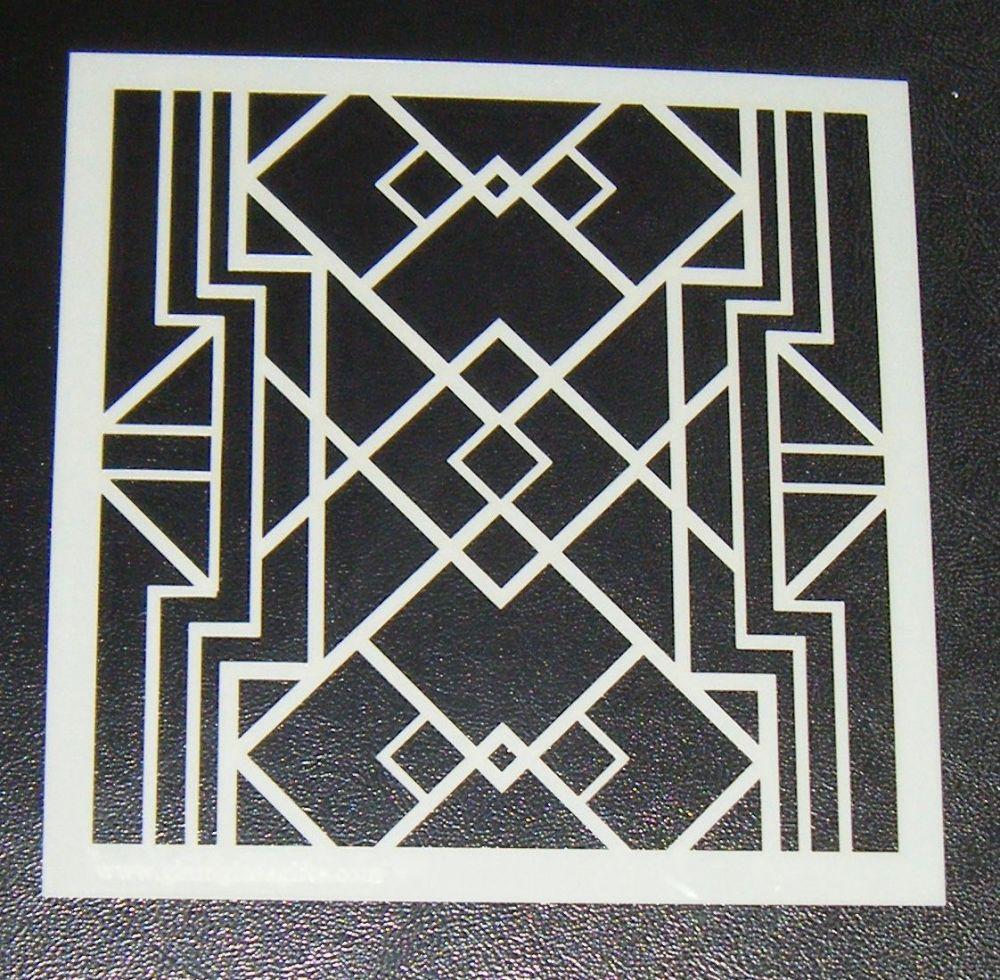 Art Deco Squares Pattern - Cake Decorating Stencil Airbrush Design 2
