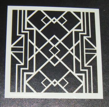 Art Deco Squares Pattern 5 inch Cake Decorating Stencil Airbrush Design 2