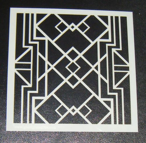 Art Deco squares Pattern Cake decorating stencil Airbrush Design 2