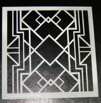 Art Deco squares 6 inch Pattern Cake decorating stencil Airbrush Design 3