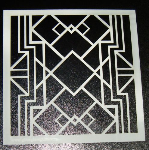 Art Deco squares Pattern Cake decorating stencil Airbrush Design 3