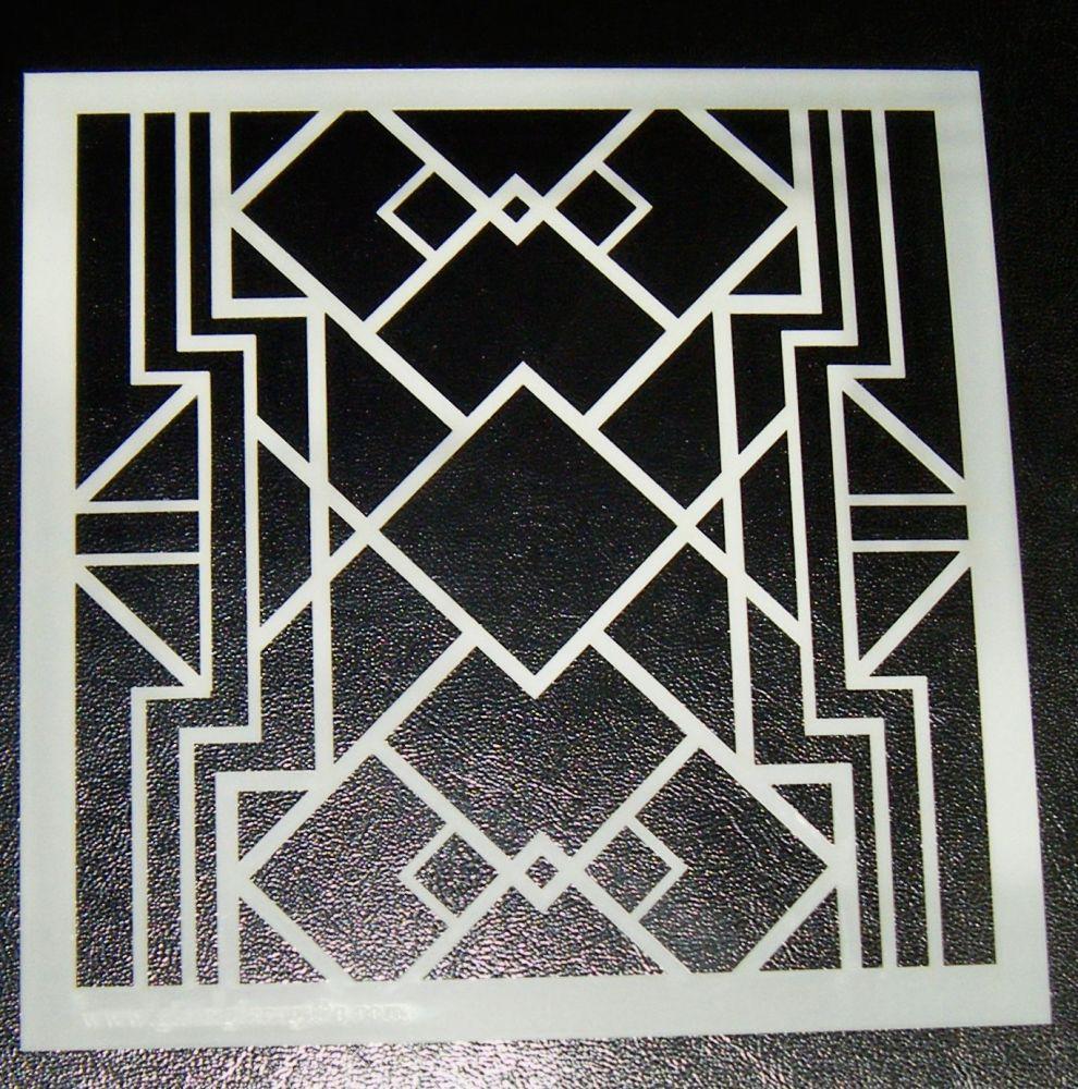 Art Deco Squares Pattern - Cake Decorating Stencil Airbrush Design 3