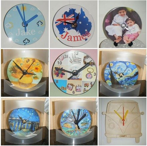 Handmade Clocks Made From Wood, CD's, Glass