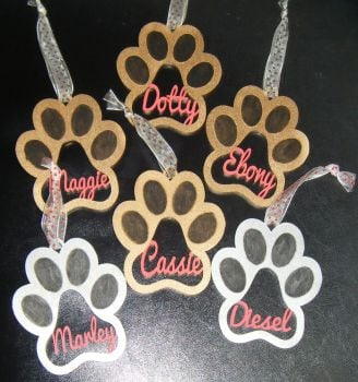 Paw Print with Name Christmas Tree Bauble Decoration