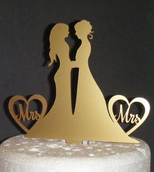 Mrs & Mrs Brides Wedding Silhouette Cake Topper
