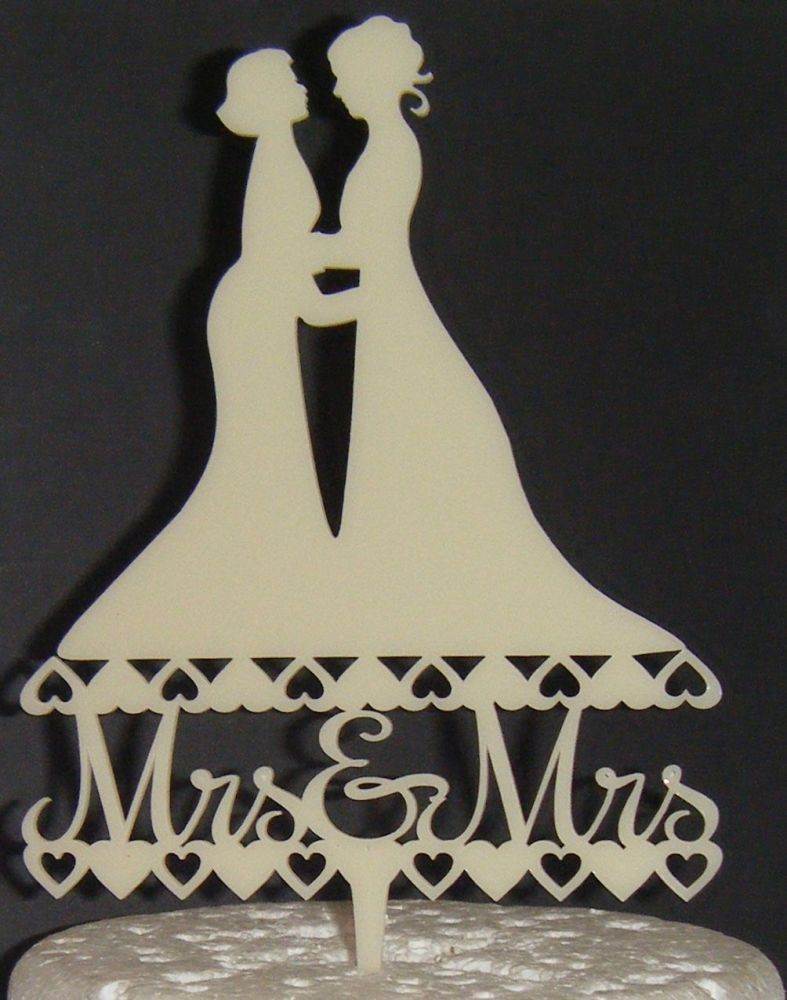 Mrs & Mrs Brides Wedding Silhouette Cake Topper 2