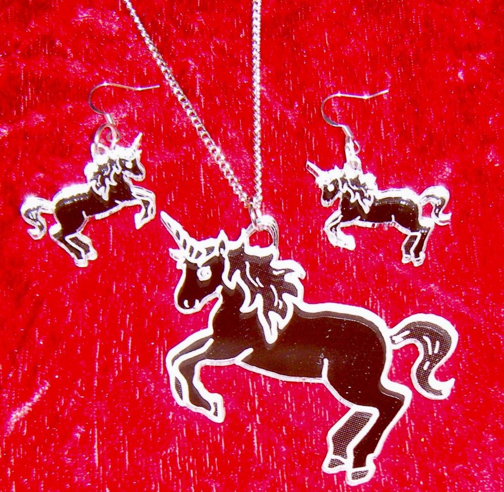 Engraved Unicorn Earring and Pendant set  Necklace