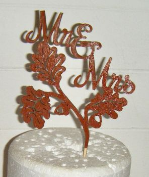 Mr + Mrs Acorn and Leaves Autumn Fall Cake Topper   (or same sex)